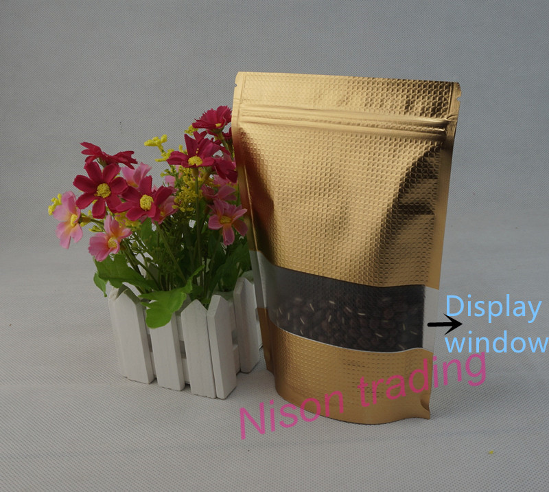 US $9 0 |14x20cm Dark Golden Mylar Plating Food Storage Pouch,100pcs Stand  Matte Gold Embossing Aluminum Foil Ziplock Bag with Window-in Storage Bags