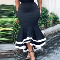 Women Bodycon Mermaid Skirt High Waist Slim Ruffles Black White Patchwork Package Hip Jupes Falads Elegant Femme Skirts African