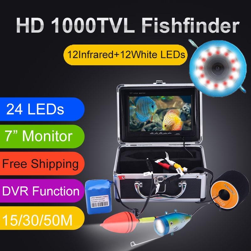 """Рыболокаторы 15/30/50M DVR 1000TVL Подводная охота Видео Камера для рыбалки """" монитор 24 контролируемые светодиоды SYANSPAN"""