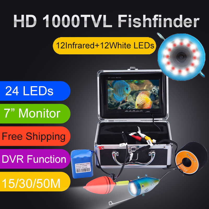 Original Fish Finder 15 30 50M DVR 1000TVL Underwater Hunting Video Camera for fishing 7 quot Monitor 24 Controllable LEDs SYANSPAN in Fish Finders from Sports amp Entertainment
