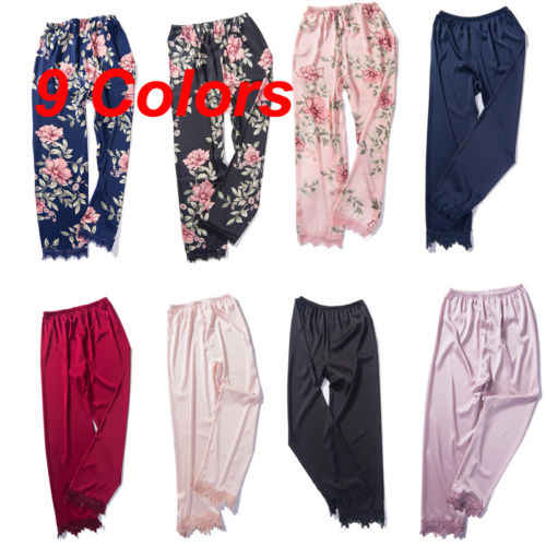 27990bba5a Women Satin Pyjamas Bottoms Sleep Trousers Loose Casual Pajamas Nightwear  Lounge Pants Sleepwear Homewear