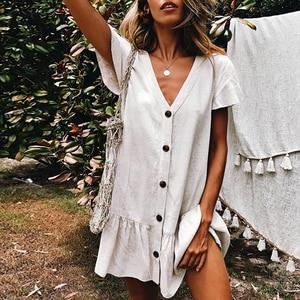 Image 2 - Bikinx V neck buttons bikini cover up Short sleeve white beach dress women tunic Sexy swimsuit cover up fashion beach wear 2019