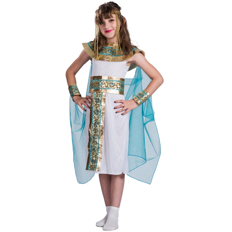 Girls Cleopatra Fancy Dress Kids Egyptian Queen Costume Kids Outfit