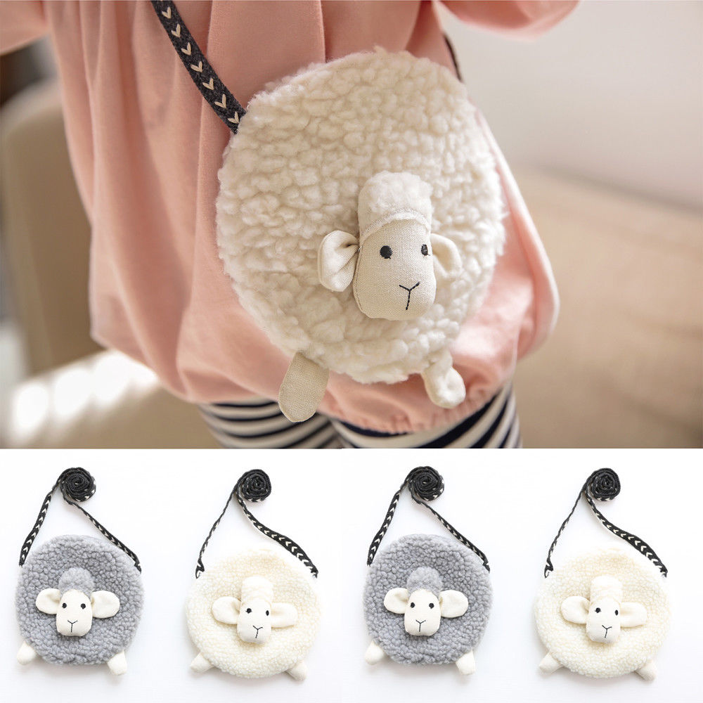 Wallet Purse Crossbody-Bag Sheep-Shape Mini Coin Plush Toddler Girls Cute Soft Sweet title=