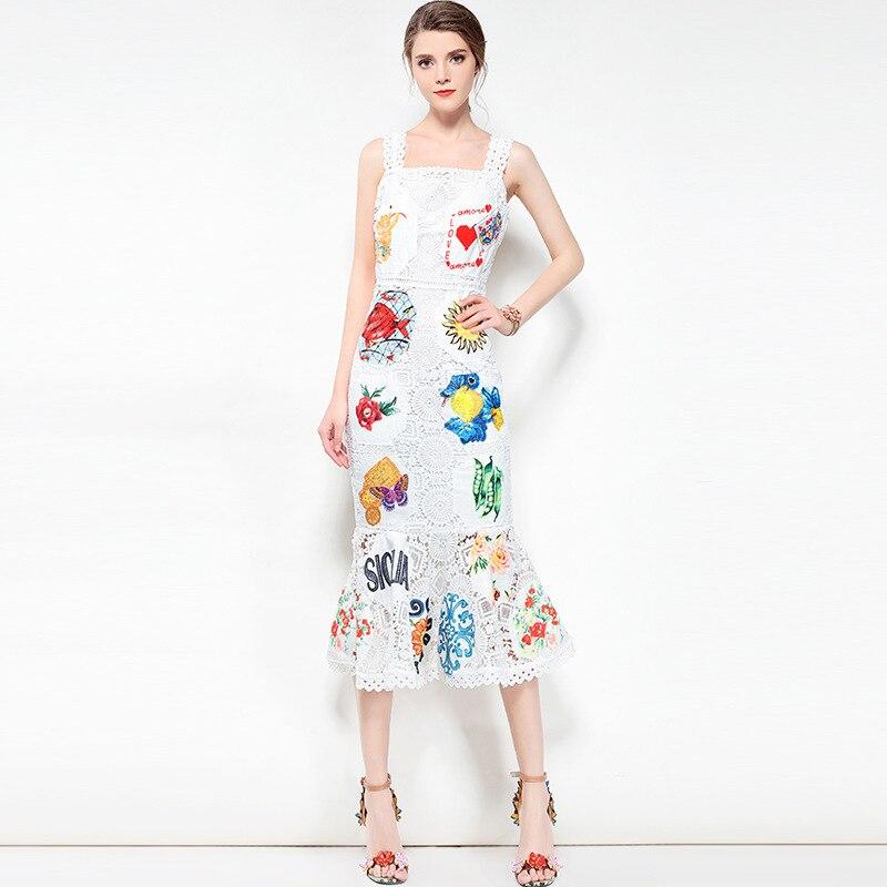 4811b2b44525288 Высокое качество Европейский 2019 лето новые женские вышитое кружевное  платье подтяжки и платье в виде раструба