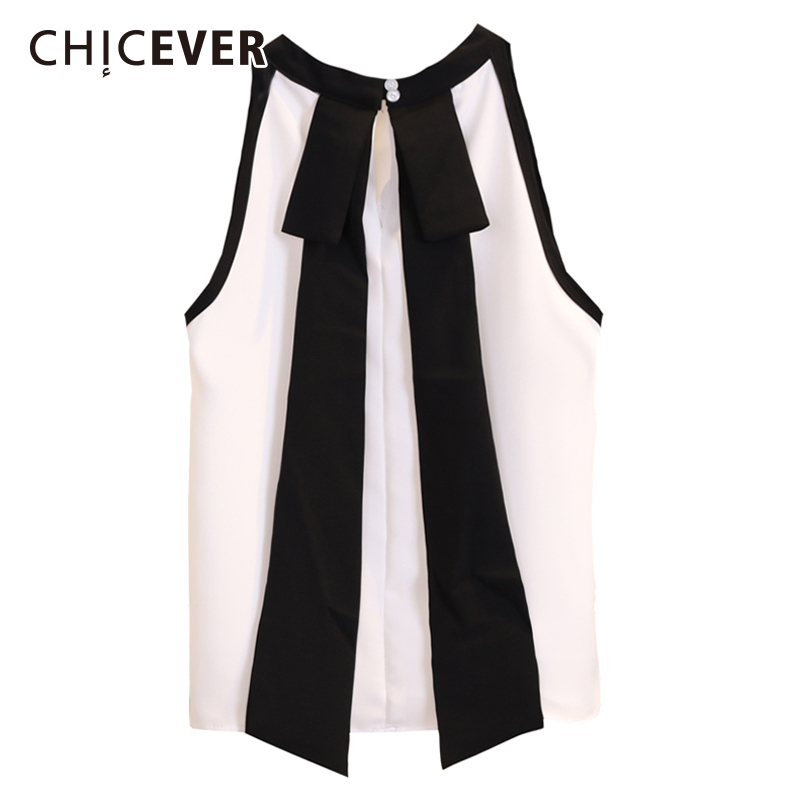 CHICEVER Chiffon Womens Tops And   Blouses     Shirt   O Neck Sleeveless Bow Ribbon White   Blouse   Tops Female Summer Fashion Clothes 2018