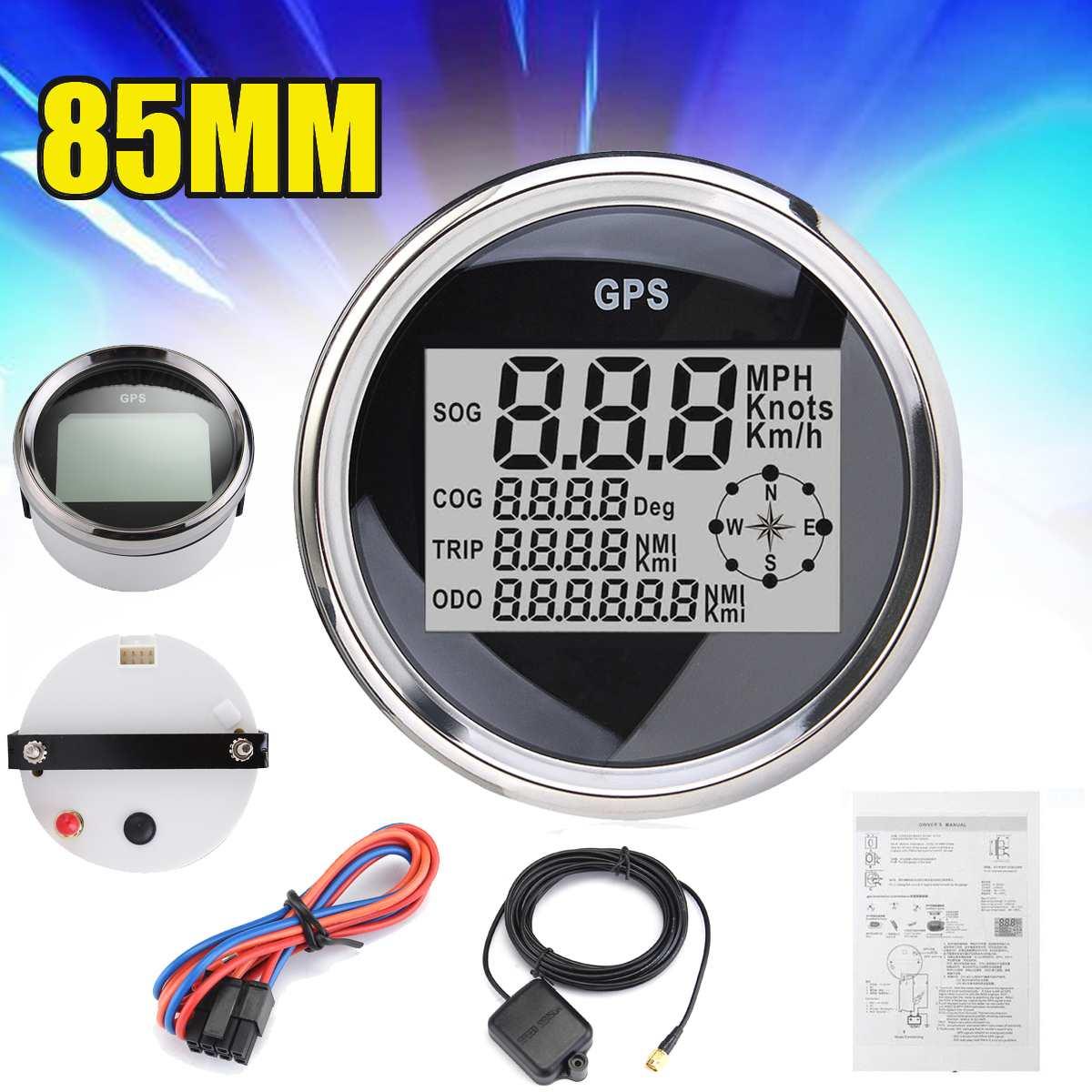 1Pcs GPS Digital Speedometer 85mm GPS Waterproof  Digital Speedometer Odometer Gauge-in Speedometers from Automobiles & Motorcycles    1