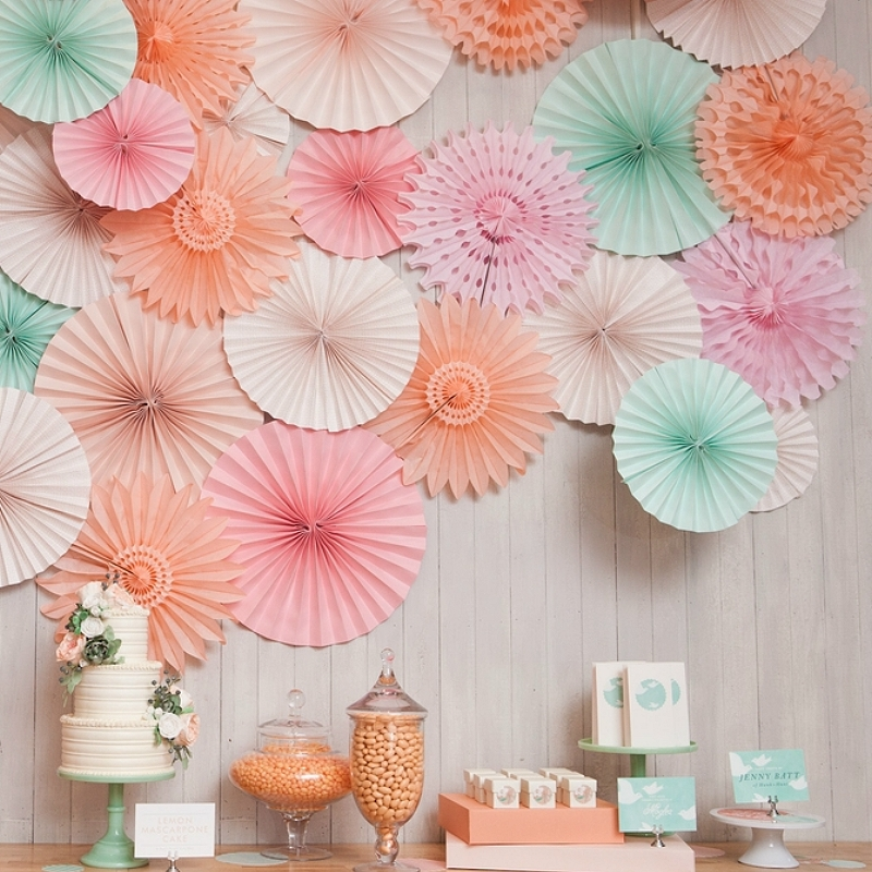 20cm/30cm/40cm Tissue Paper Fan Wedding Backdrop Decoration Flower Paper Fan Birthday Party Hanging Decorations Party DIY Decor