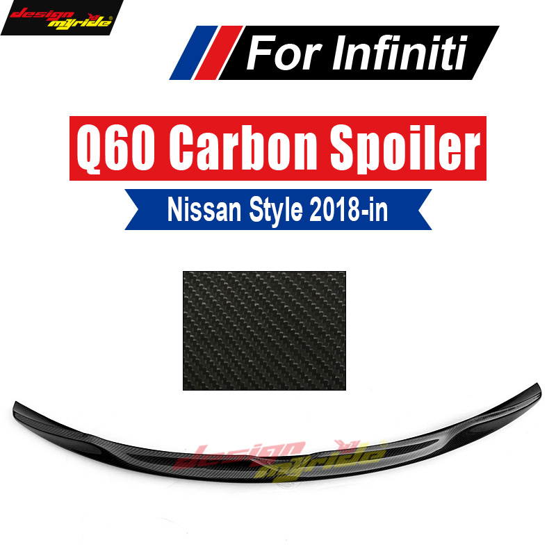 Q60 Spoiler Tail Wing Sundial style Carbon Fiber Fit For Infiniti Q60 Q60S Rear Trunk Spoiler Tail Trunk Lid Boot Lip Wing 2018+-in Spoilers & Wings from Automobiles & Motorcycles    1
