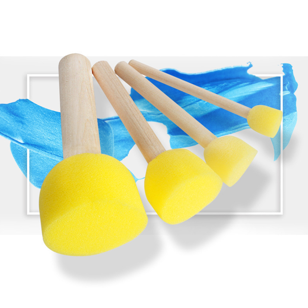4 Pcs Toys Painting Graffiti Drawing Wood Handles Paint Brush Sponge Round Gift For Children #20