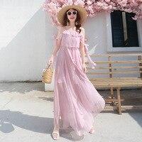 U SWEAR 2019 Summer New Pink Suspender Chiffon Dress Gentle Holiday Dress Ruffled Straps Long Bodycon Dress Vestidos
