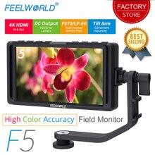 FEELWORLD F5 5 дюймов для однообъективной цифровой зеркальной фотокамеры камера монитор небольшой HD фокус видео Assist полевой монитор lcd ips Full HD 1920x1080 4 K HDMI вход выход