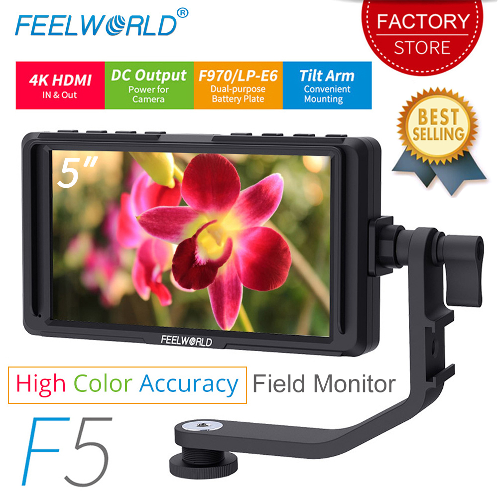 FEELWORLD F5 5 polegada DSLR Camera Monitor de Campo Pequeno HD de Vídeo Foco Auxiliar Monitor LCD IPS Full HD 1920x1080 4 K de Entrada e Saída HDMI