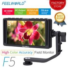 Feelworld F5 5 дюймов для однообъективной цифровой зеркальной фотокамеры камера мониторы Малый HD фокус видео помощь поле ЖК дисплей ips Full HD 1920×1080 4 к HDMI вход выход