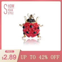 Blucome Small Full Red Crystals Ladybug Brooches For Kids Girls Shirt Gold-color Insect Beetles Brooch Scarf Corsage Accessories(China)