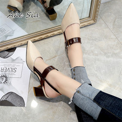 2019 spring new hollow coarse sandals high-heeled shallow mouth pointed pumps shoes work shoes women Female sexy high heels x21
