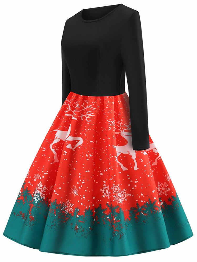 Wisalo плюс размер винтажный принт с рождественским оленем платье-клеш женское с длинным рукавом Высокая талия до середины икры женское платье Vestidos 5XL