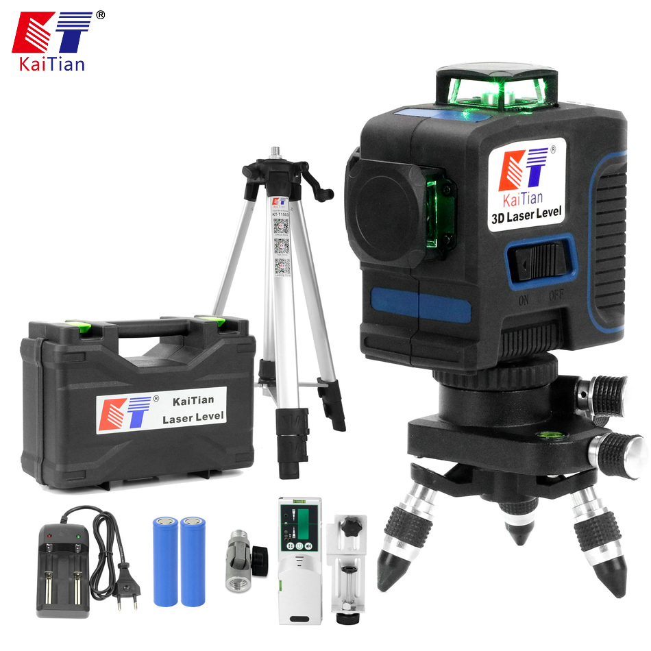 KaiTian 12Lines 3D Laser Level Self-Leveling Horizontal 360 Rotary Vertical Cross Super Powerful Green Laser Beam Line Leve ToolKaiTian 12Lines 3D Laser Level Self-Leveling Horizontal 360 Rotary Vertical Cross Super Powerful Green Laser Beam Line Leve Tool