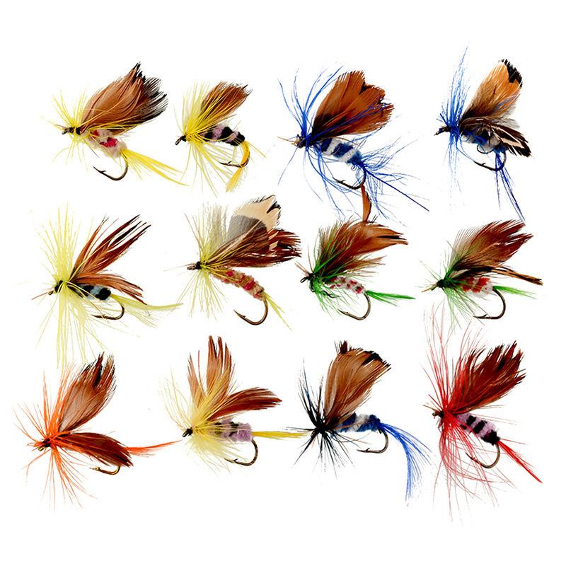 12 pçs/pçs/set insetos moscas voar iscas de pesca isca de aço carbono alto gancho peixe enfrentar com super afiada manivela gancho perfeito chamariz|Iscas artificiais| |  - title=