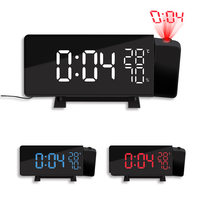 TS 5210 Thermometer Hygrometer Digital Clock 3 Color Projection LED Switch Display Time Clock Temperature Humidity FM Radio