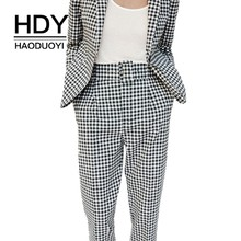 HDY Haoduoyi Women Vintage Gray Grid Casual Pants Female Streetwear Capris Office Lady Elegant Trousers Autumn New