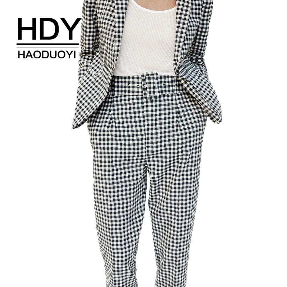 HDY Haoduoyi Women Vintage Gray Grid Casual   Pants   Female Streetwear   Capris   Office Lady Elegant Trousers Autumn New