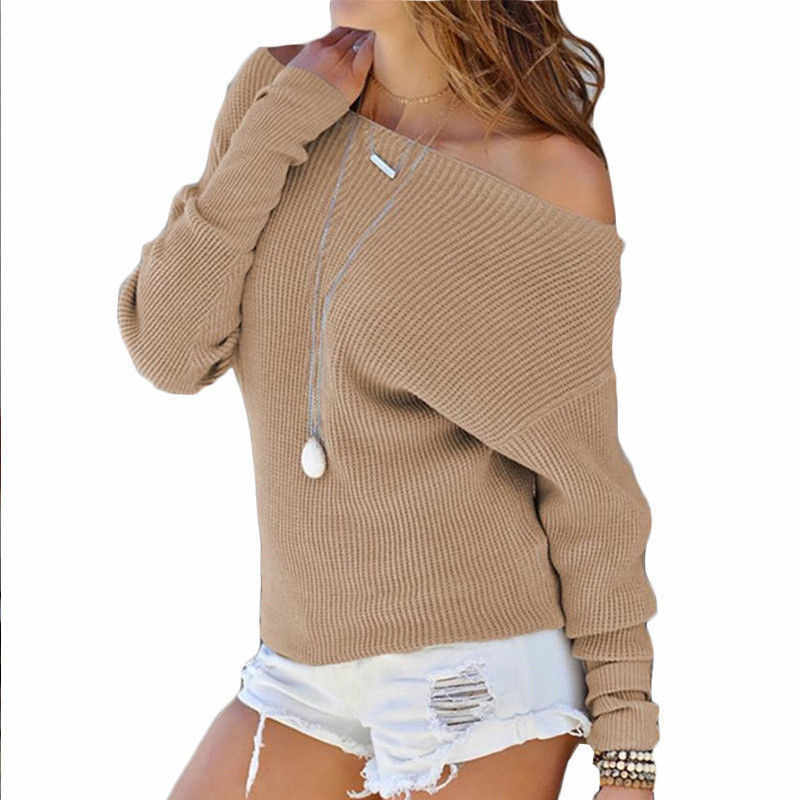 Негабаритных Осенняя мода женское платье с открытыми плечами, свитер с длинным рукавом Женские, повседневные, свободные женские топы и блузки