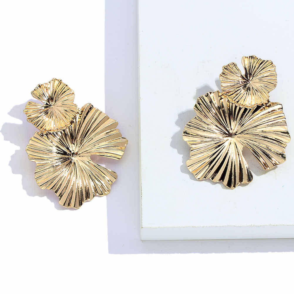 JUST FEEL ZA New Bohemian Leaf Dangle Earrings Gold Color Punk Geometric Flower Big Vintage Drop Earring For Women Metal Jewelry