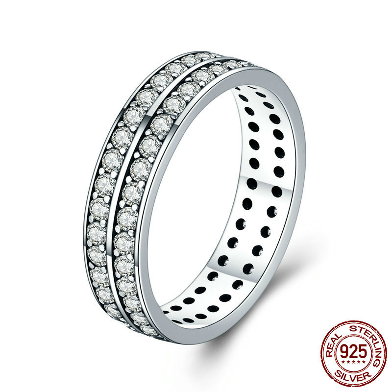 Authentic 925 Sterling Silver Double Layers Circle Finger Rings for Women Clear CZ Wedding Engagement Jewelry SCR381
