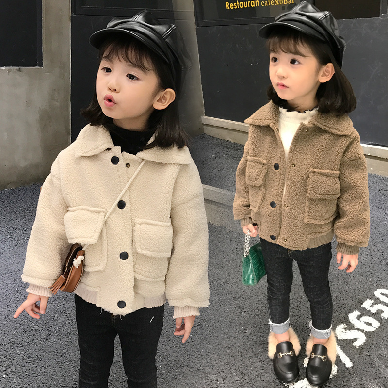 Girl Autumn And Winter New Pattern Fashion Suede Loose Coat Solid Color