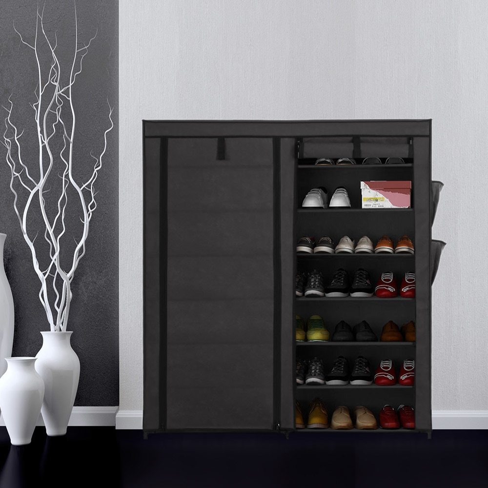 Home Shoe Racks Organizer Portable 7 Tier Fabric Shoes Rack Cabinet Non-woven Zip Up Standing Boots Shoes Storage Organizer