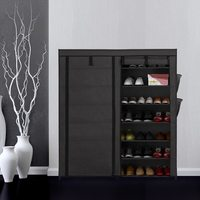 Home Shoe Racks Organizer Portable 7 Tier Fabric Shoes Rack Cabinet Non woven Zip Up Standing Boots Shoes Storage Organizer