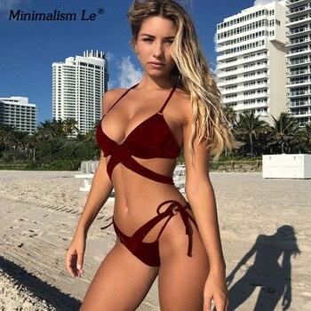 2020 Sexy Solid Swimwear Women Bikini Set Swimsuit Halter Top Bikinis Bathing Beachwear Bandage Biquini Mujer Plus Size 2