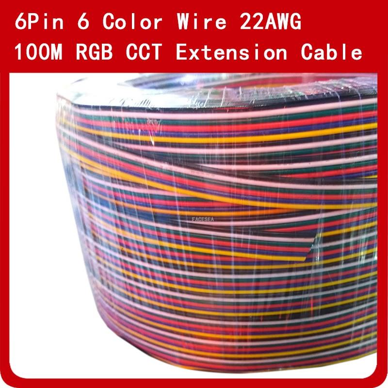100 M 6Pin Extension Câble De Corde de Fil De Cuivre Étamé LED Connecteur 22AWG pour RGB CCT LED Bande