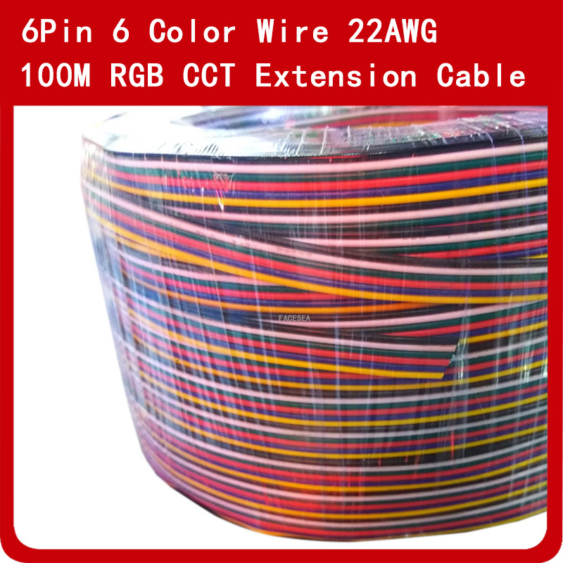 100M 6Pin Extension Cable Wire Cord Tinned Copper LED Connector 22AWG for RGB CCT LED Strip100M 6Pin Extension Cable Wire Cord Tinned Copper LED Connector 22AWG for RGB CCT LED Strip