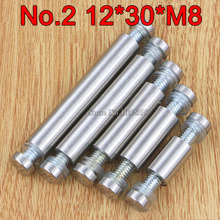 200PCS 12mm*30mm*M8 Stainless Steel Double Head Hollow Standoffs Pin Nails Screw Acrylic Advertisement Fixing Screws Glass