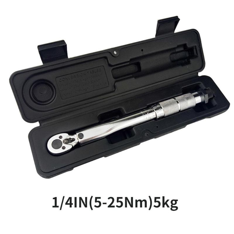 Multifunctional Drive Torque Wrench 1/4 Square Drive 5-25NM Adjustable Two-way Precise Ratchet Wrench Repair Spanner Hand Tools