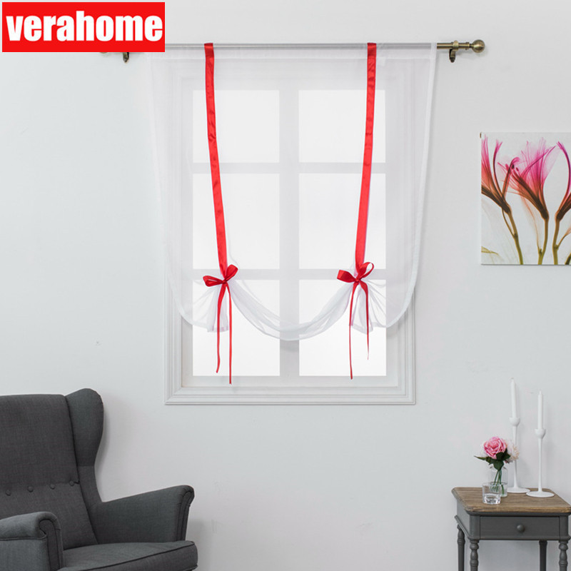 US $4.39 60% OFF|Verahome solid Roman curtains short kitchen valance  curtains sheer fabric panel modern curtains Treatments window Red ribbon-in  ...