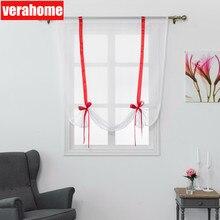 Verahome solid Roman curtains short kitchen valance  sheer fabric panel modern Treatments window Red ribbon