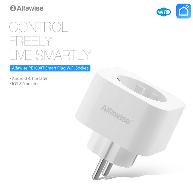 Alfawise PE1004T UE enchufe Mini WiFi enchufe inteligente funciona con Amazon Alexa Google Home APP Control remoto energía monitor