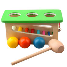 Baby Multi-functional Percussion Color Bell Knock Ball Toys Hitting Table Training Hand-eye Coordination Puzzle Wooden Children(China)