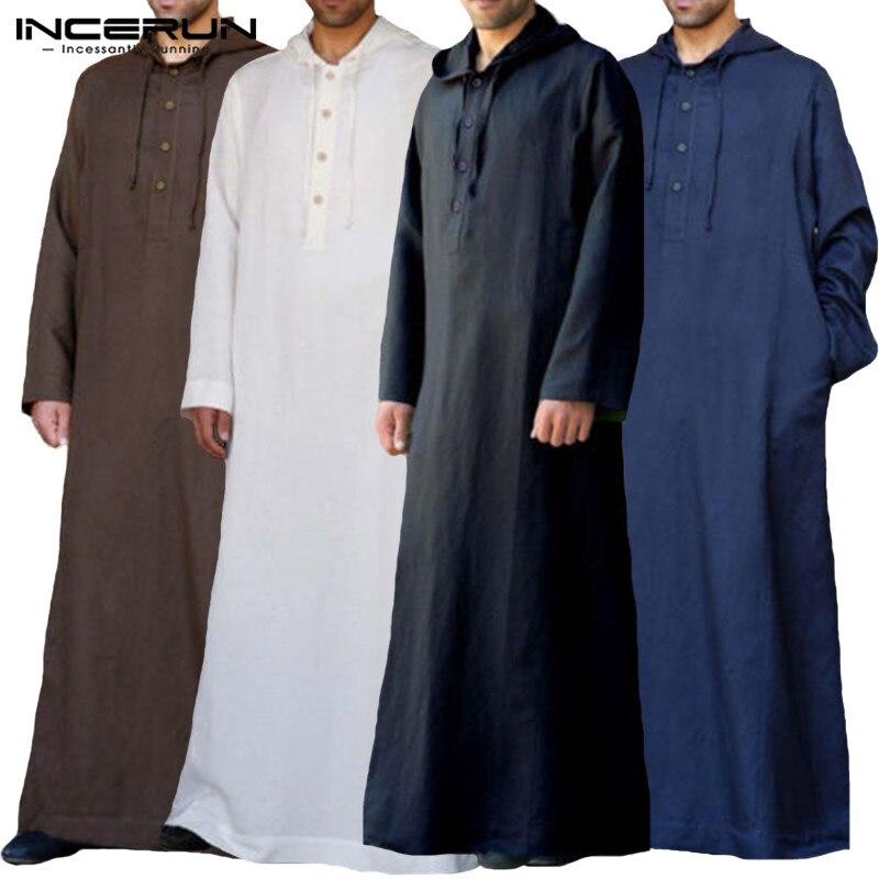 2b7a1b260 Traje musulmán sudaderas con capucha para hombre de manga larga árabe saudí  Thobe Jubba Thobe ...