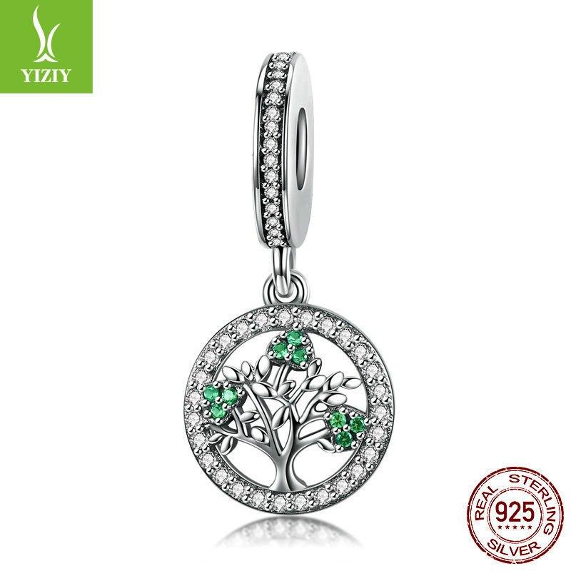 Véritable 925 en argent Sterling printemps arbre Dangle charmes Fit perles Bracelet et collier pendentif vif mode bijoux cadeau