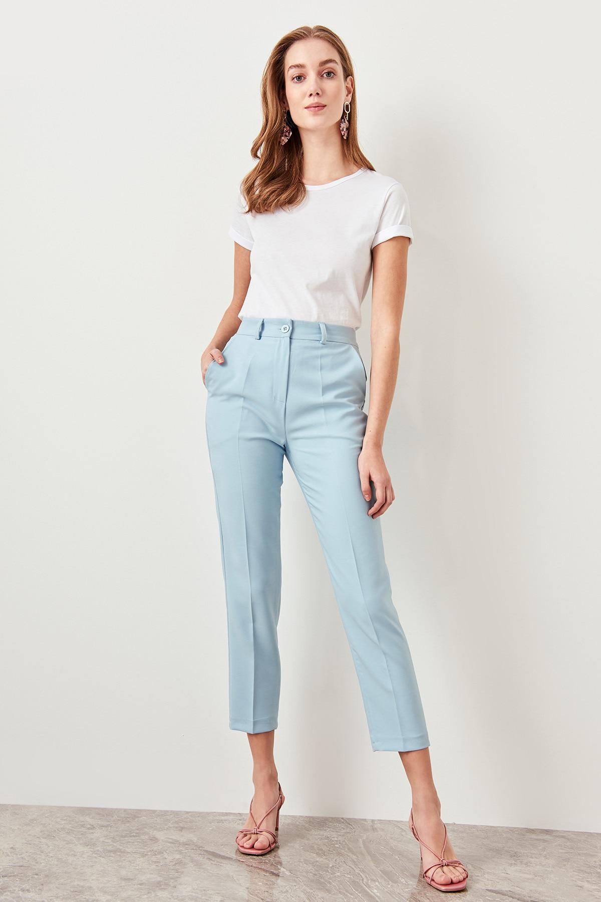 Trendyol Basic Blue  Pomegranate Flower Pants TWOSS19ST0038