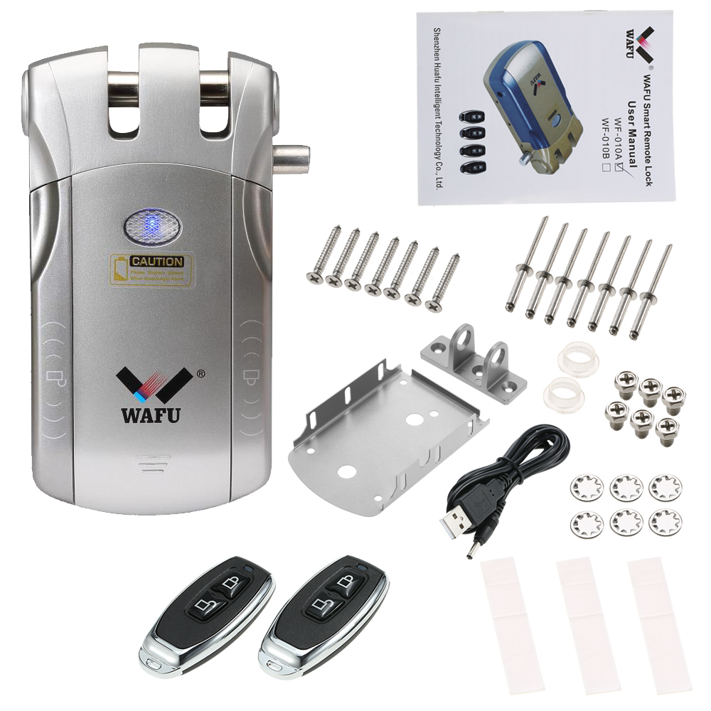 WAFU Wireless Remote Control Lock Security Invisible Keyless Door Entry Intelligent Lock with Remote Keys Access