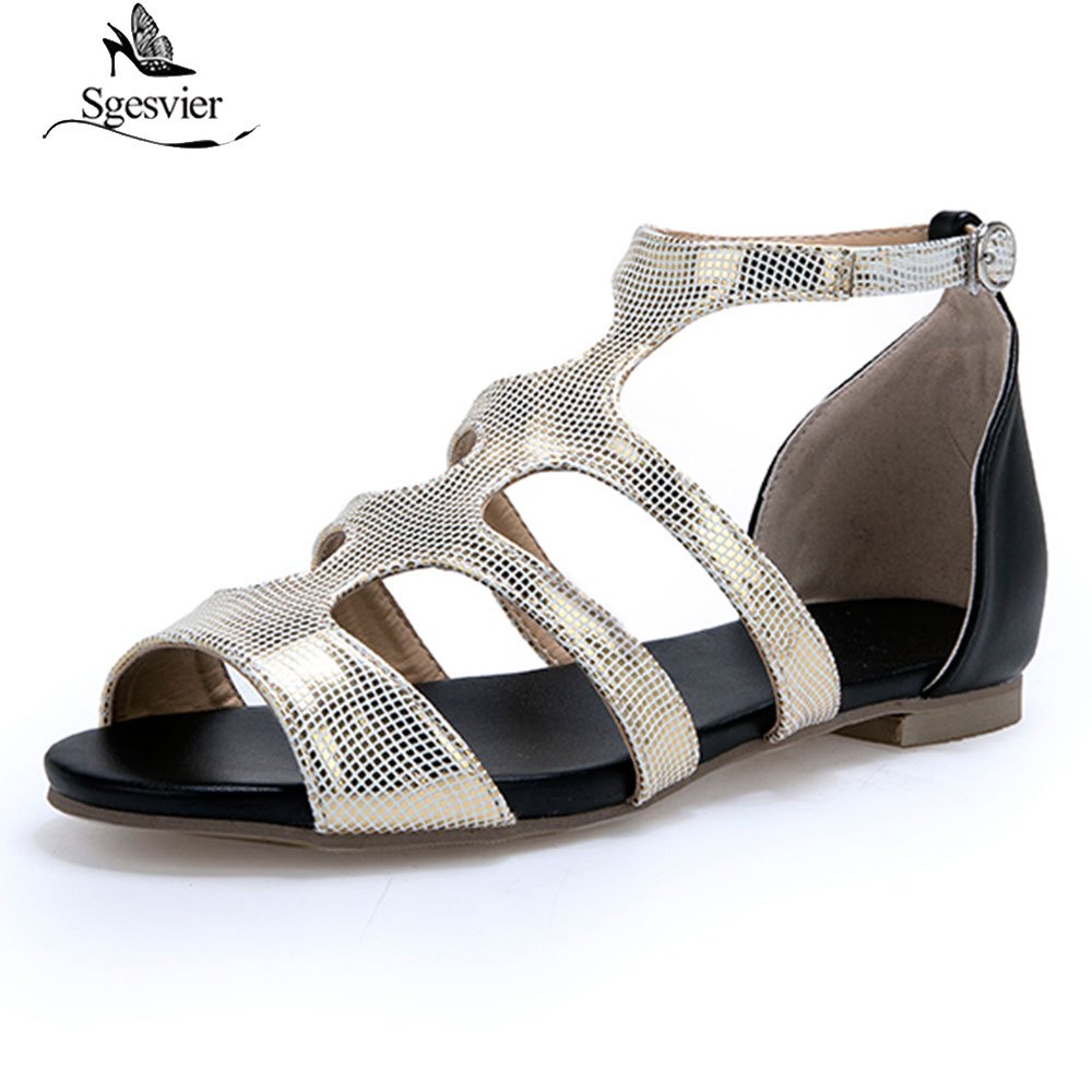 Sgesvier Shos woman Ladies sandals Buckle T-strap Flat with Peep toe Gold Silver Summer Plus size 33-47 Female Casual G296