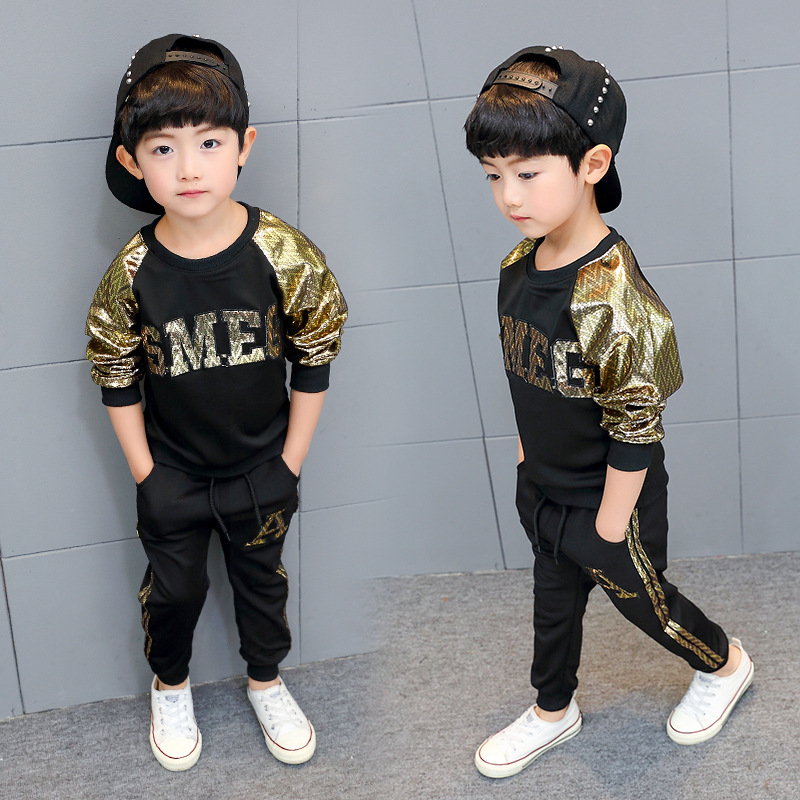 Children's clothing boy suit 2019 new spring and autumn long-sleeved round neck sweater + pants kids clothes