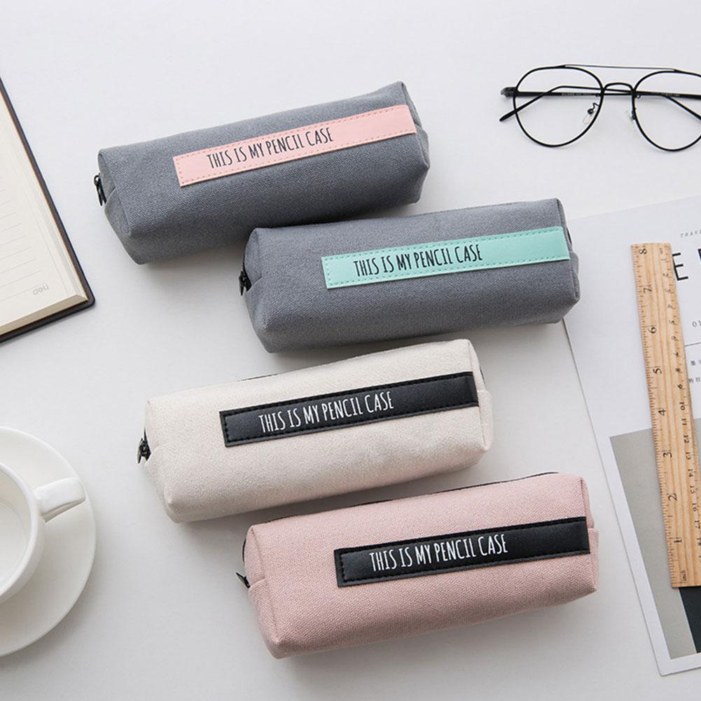 None Pencil Case For Girls Leather Pen Bag Box Waterproof Stationery Pouch Office School Supplies Zakka Escolar R20