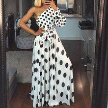 Polka Dots Print White Dress Vintage Summer One Shoulder Elegant Belt Lace Up Swing Holiday Long Casual Retro Women Maxi Dress цена 2017