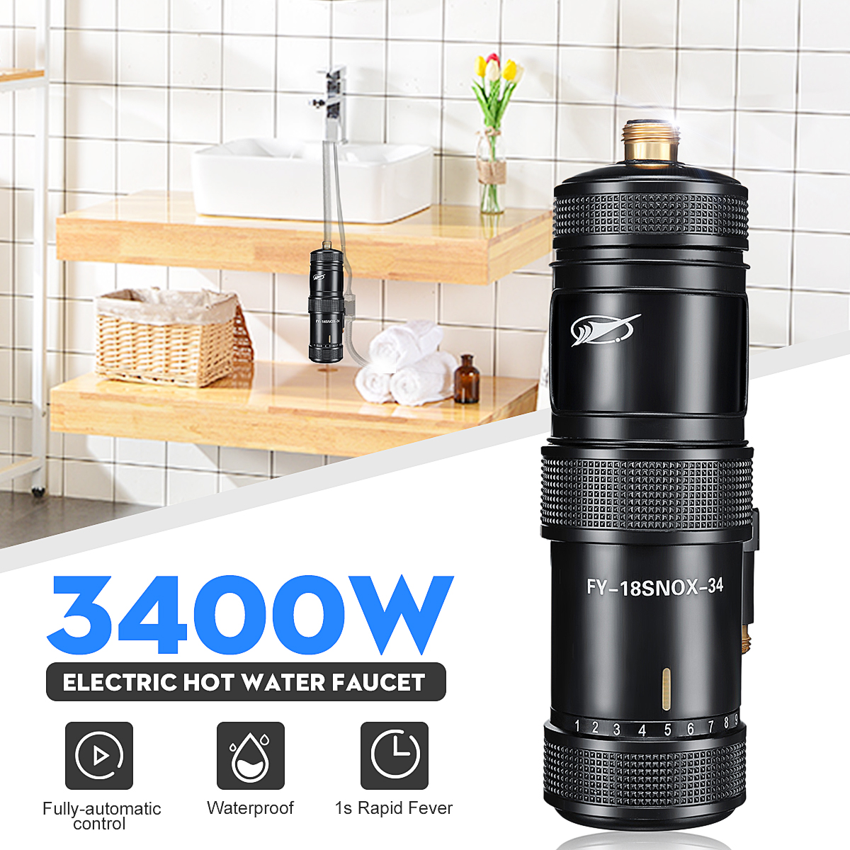 3400W  Electric Faucet Water Heater Instant Heating Electric Hot Kitchen Hot Water System Shower Tap Bathroom Kitchen